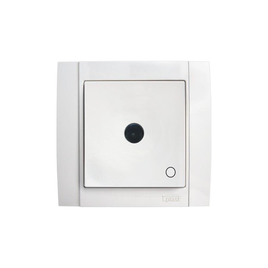 Intrerupator cu revenire cu indicator luminos Comtec Anemon, incastrat, rama inclusa, alb