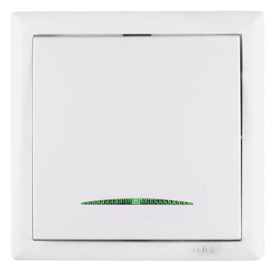 Intrerupator cap scara simplu cu indicator luminos Elegant 045631, incastrat, rama inclusa, alb