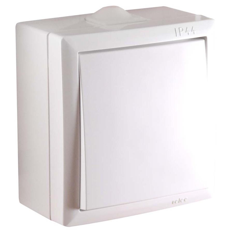 Intrerupator simplu Elegant IMBS PT 045358, aparent, rama inclusa, alb