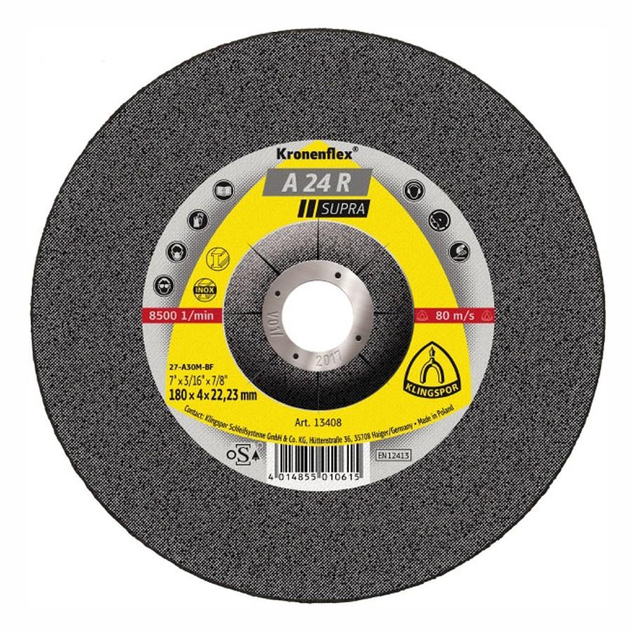 Disc polizare inox, Klingspor A 24 R Supra, 230 x 22.23  x 4 mm