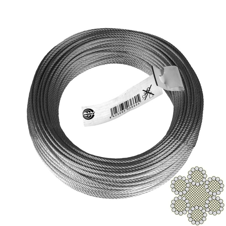 Cablu comercial, din otel zincat, pentru ancorari usoare, colac 50 m x 6 mm / bucata