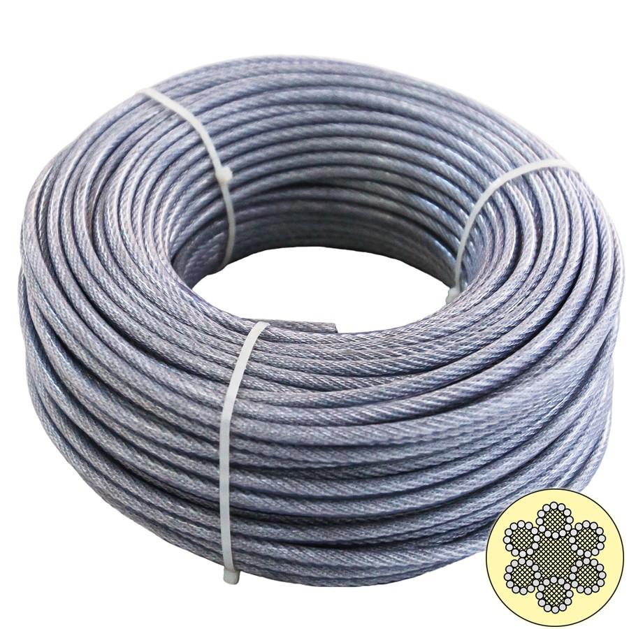 Cablu din otel zincat plastifiat, pentru ancorari usoare, 25 m x 6-8 / bucata
