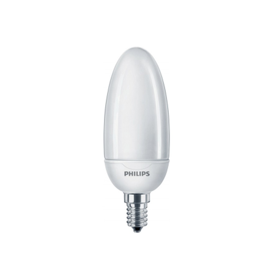 Bec economic E14 Philips Softone Esaver Candle B40 8W lumina calda