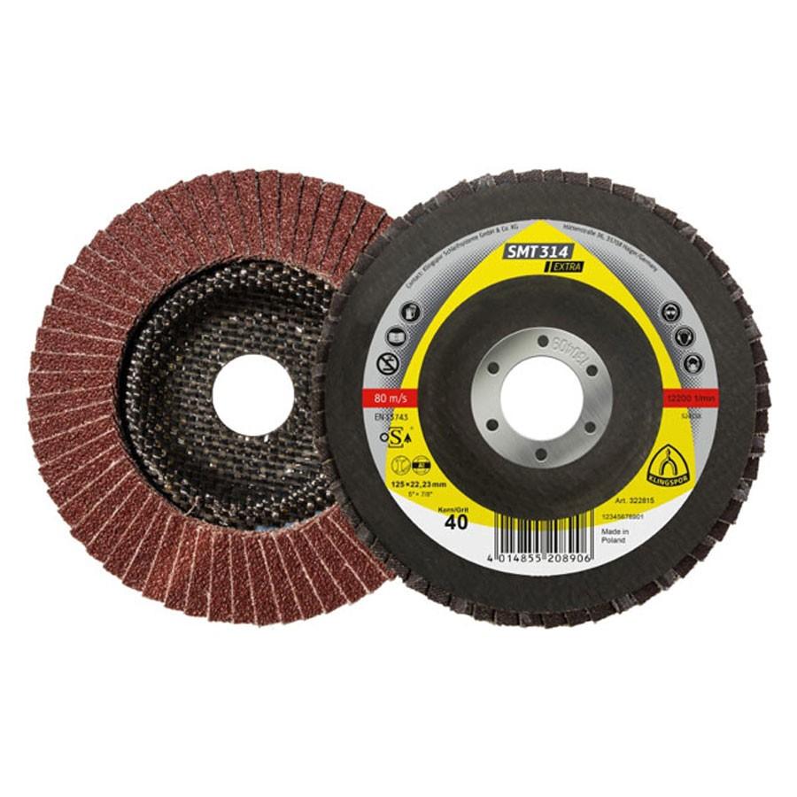 Disc lamelar frontal pentru otel, metale neferoase Klingspor SMT 314 322809 granulatie 40 115 mm