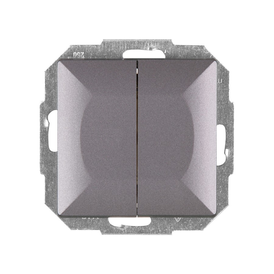 Intrerupator dublu cu indicator luminos Abex Perla WP-2P/S AN, incastrat, antracit