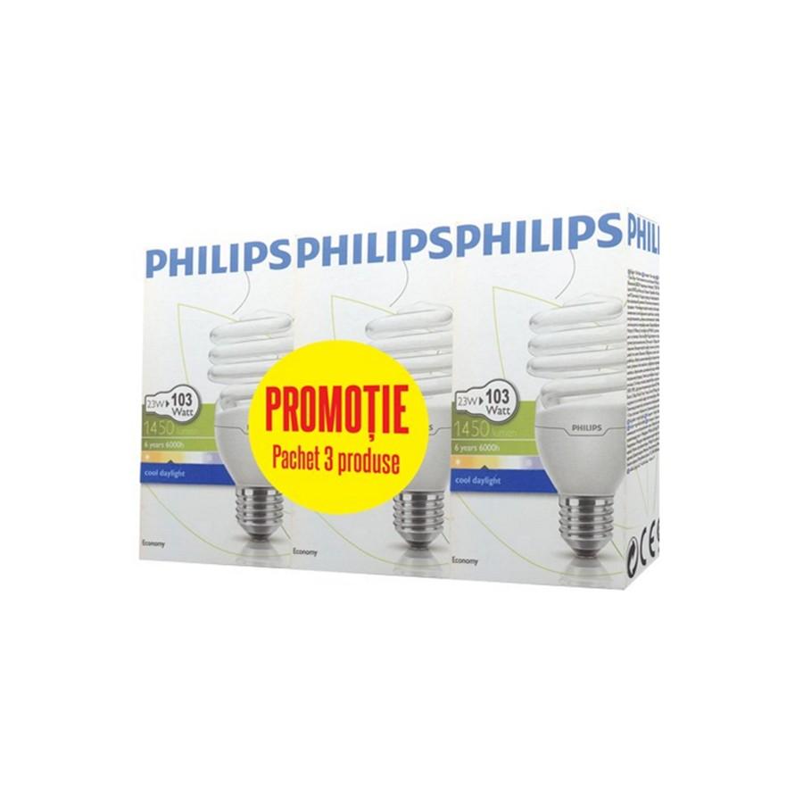 Bec economic E27 Philips Tornado spiralat 23W lumina rece, 3 buc