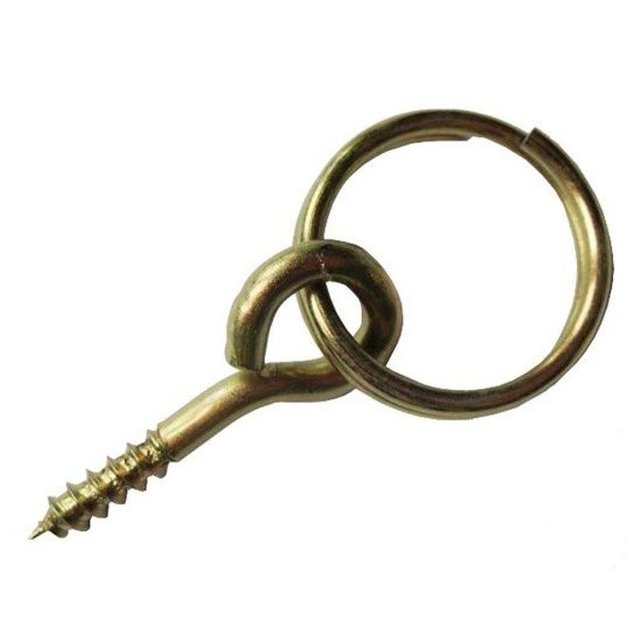 Agatator cu inel, pentru tablou, otel, zincat auriu, 10 mm
