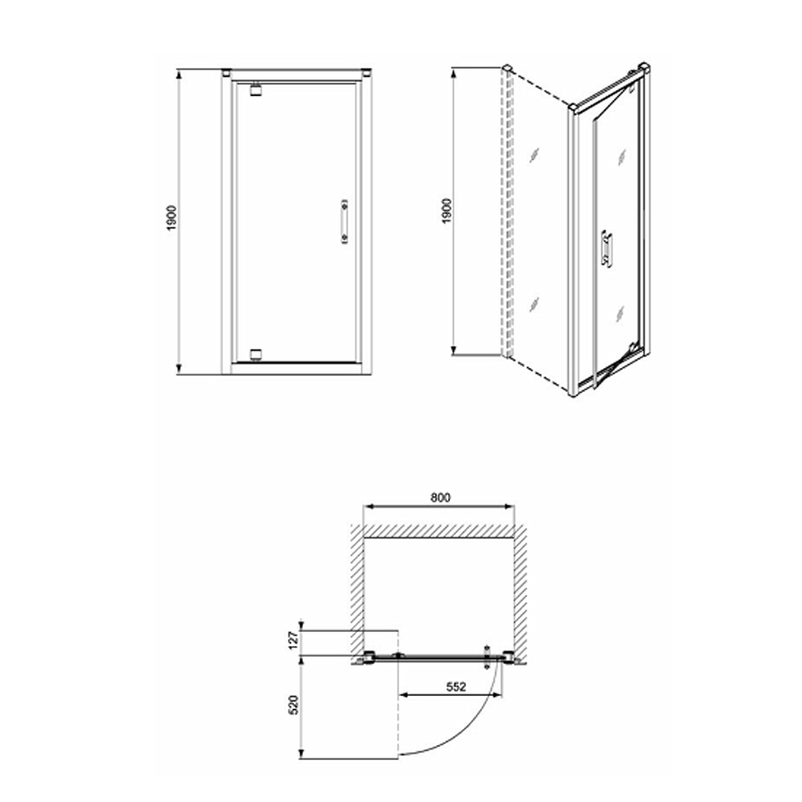 Usa pivotanta pentru cabina dus, sticla, Geo 6 GDRP80222003, 80 x 190 cm