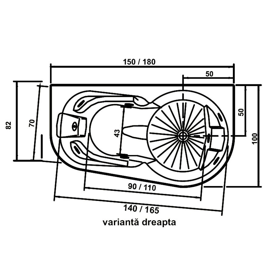 Cada baie cu hidromasaj, asimetrica, pe colt, montaj pe dreapta, West Doride, masca inclusa, 180 x 100 cm