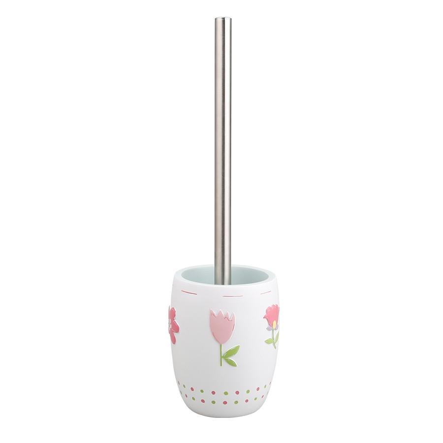 Perie WC  Flower BPO-0235K, ceramica, alb, model floral