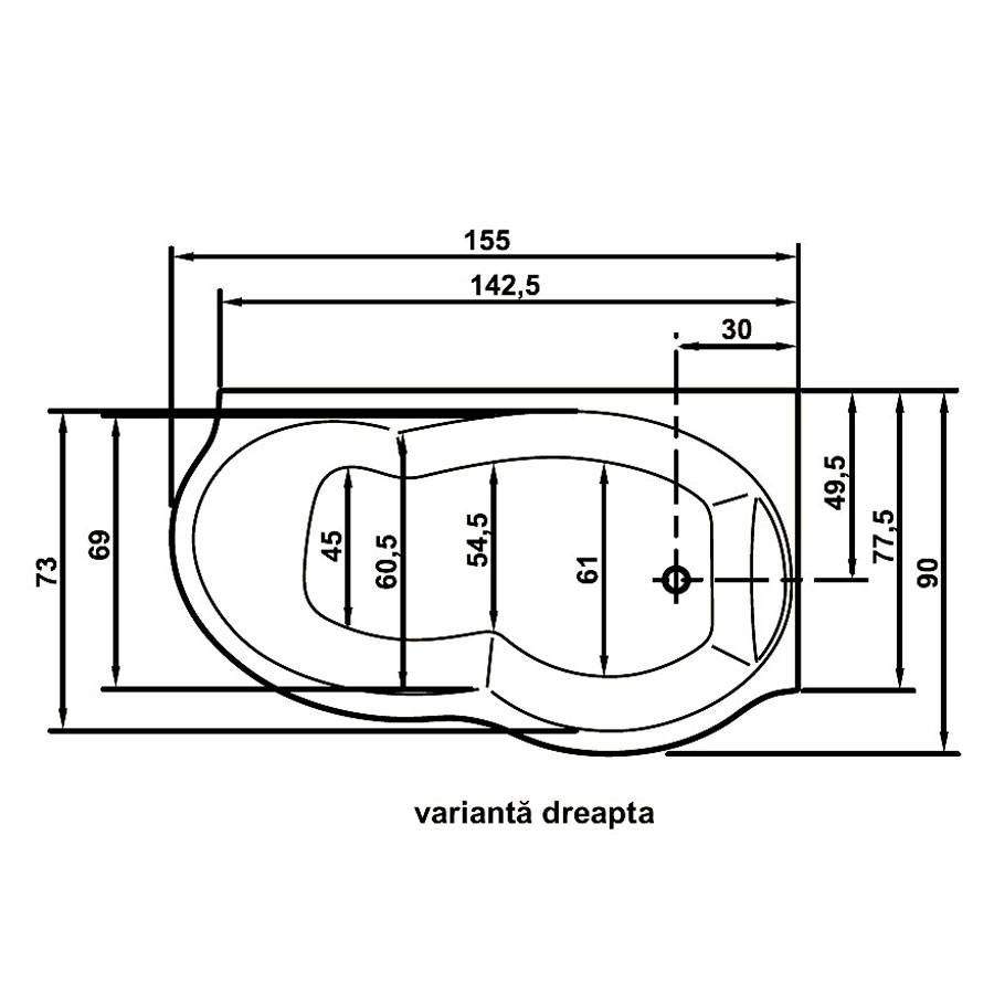 Cada baie cu hidromasaj, asimetrica, pe colt, montaj pe dreapta, Ariana, 155 x 90 cm