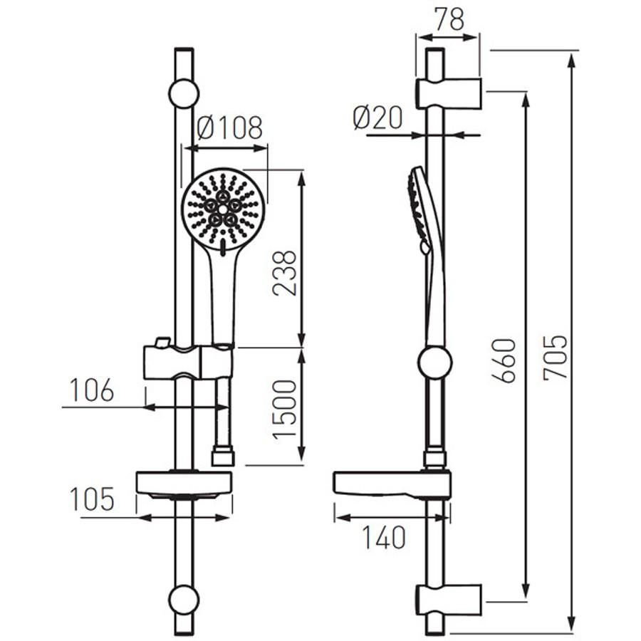 Set dus para + furtun + suport + savoniera + bara, Ferro Nessa N350B, 3 functii, 1.5 m