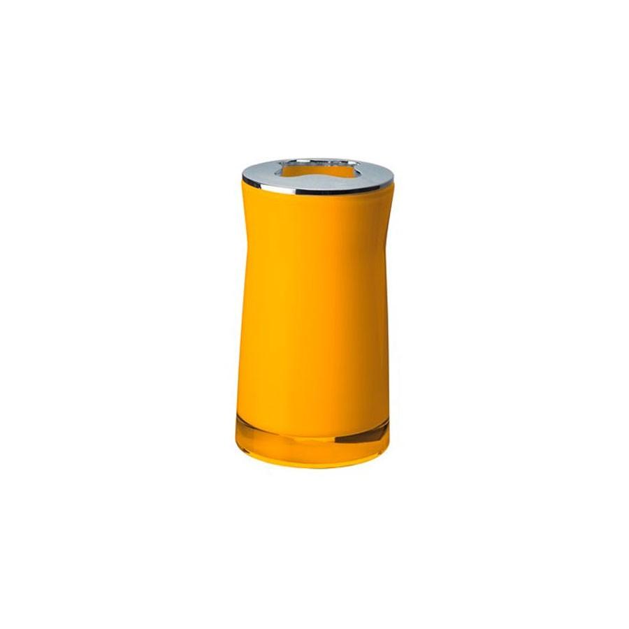 Suport periute dinti Davo Pro Disco 2103204, acrilic, galben, 6.5 x 6.5 x 12.4 cm