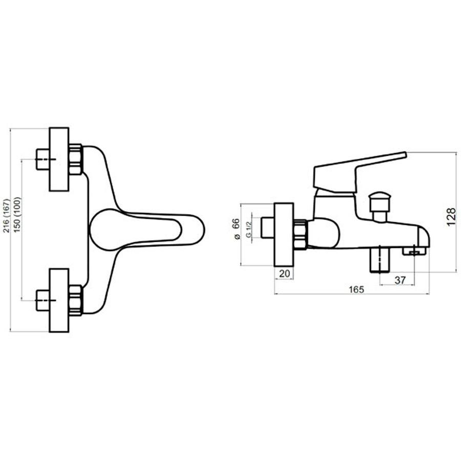 Baterie baie pentru cada / dus, Ferro New Neon 93420/1.0, montaj aplicat, monocomanda, finisaj cromat