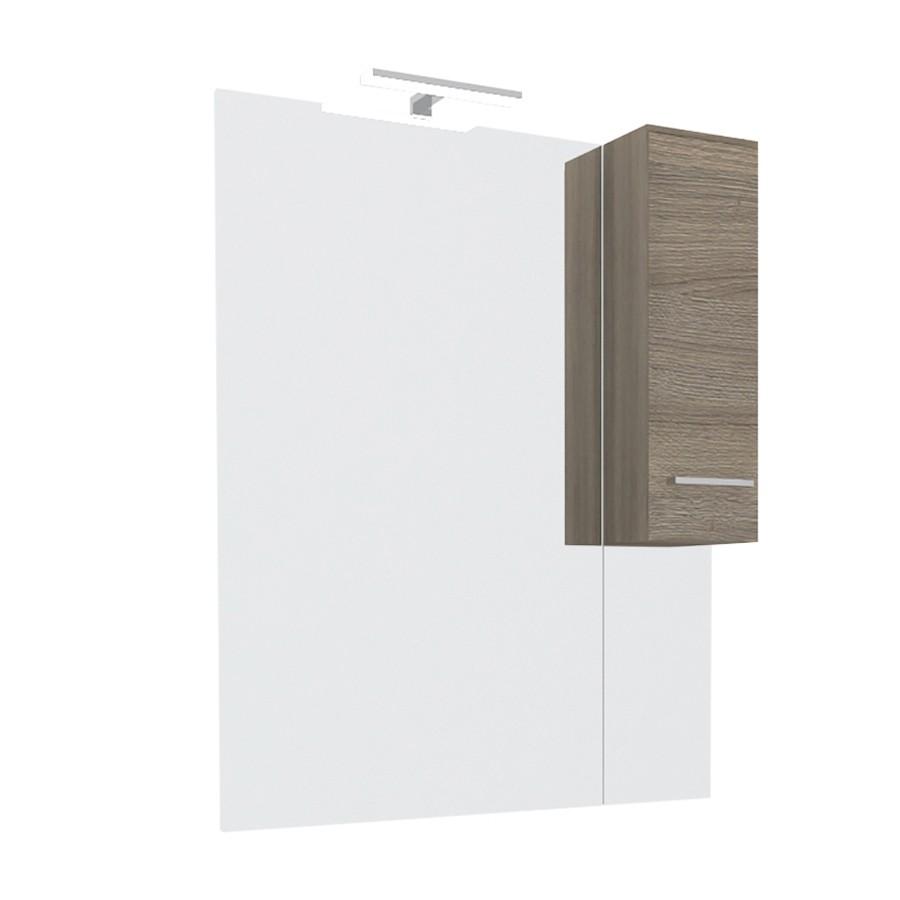 Dulap baie cu oglinda, iluminare, 1 usa, dreapta, Savini Due Rubino 4224D, rovere fumo, 81 x 17 x 107.5 cm
