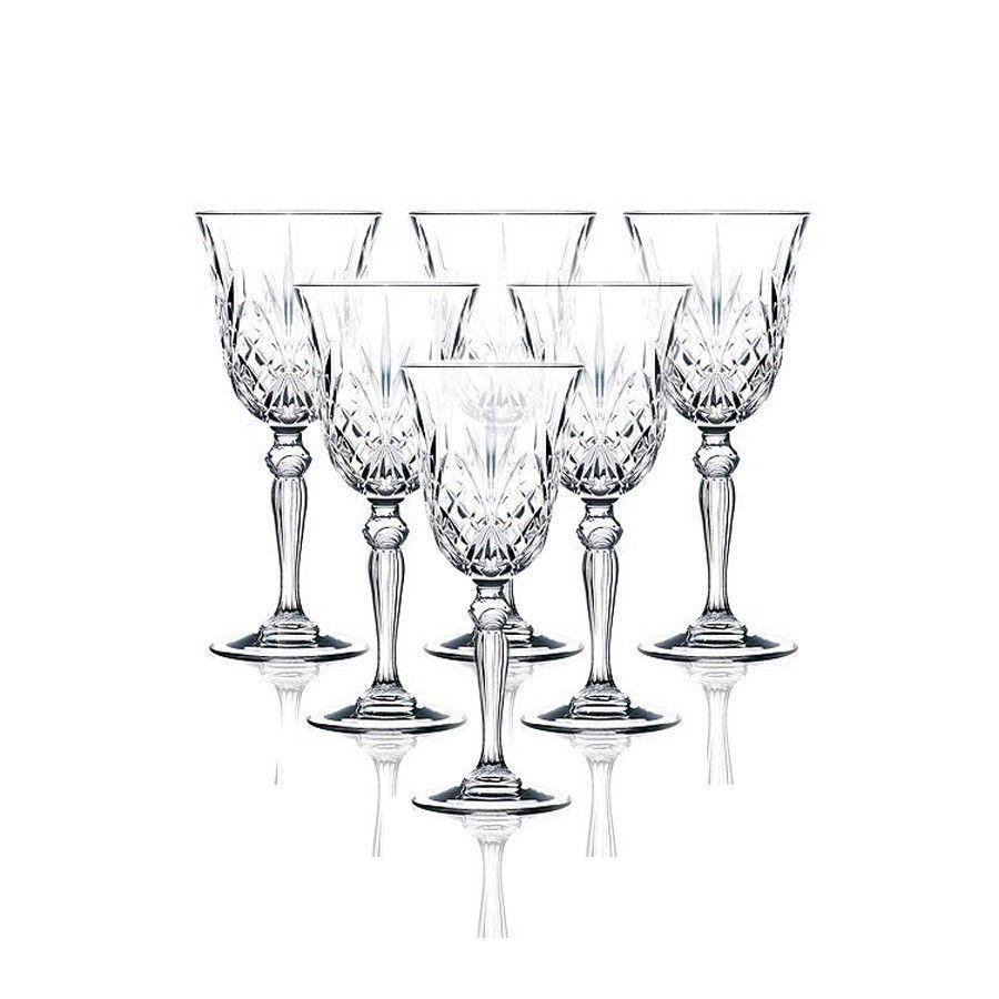 Pahar cu picior vin, Melodia, din cristal, 210 ml, set 6 bucati