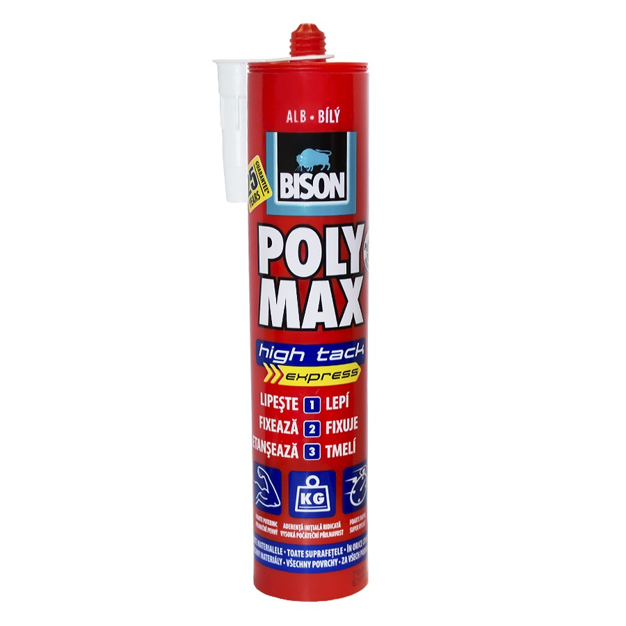 Adeziv pentru suprafete multiple, interior / exterior, Bison Poly High Tack, alb, 425 gr