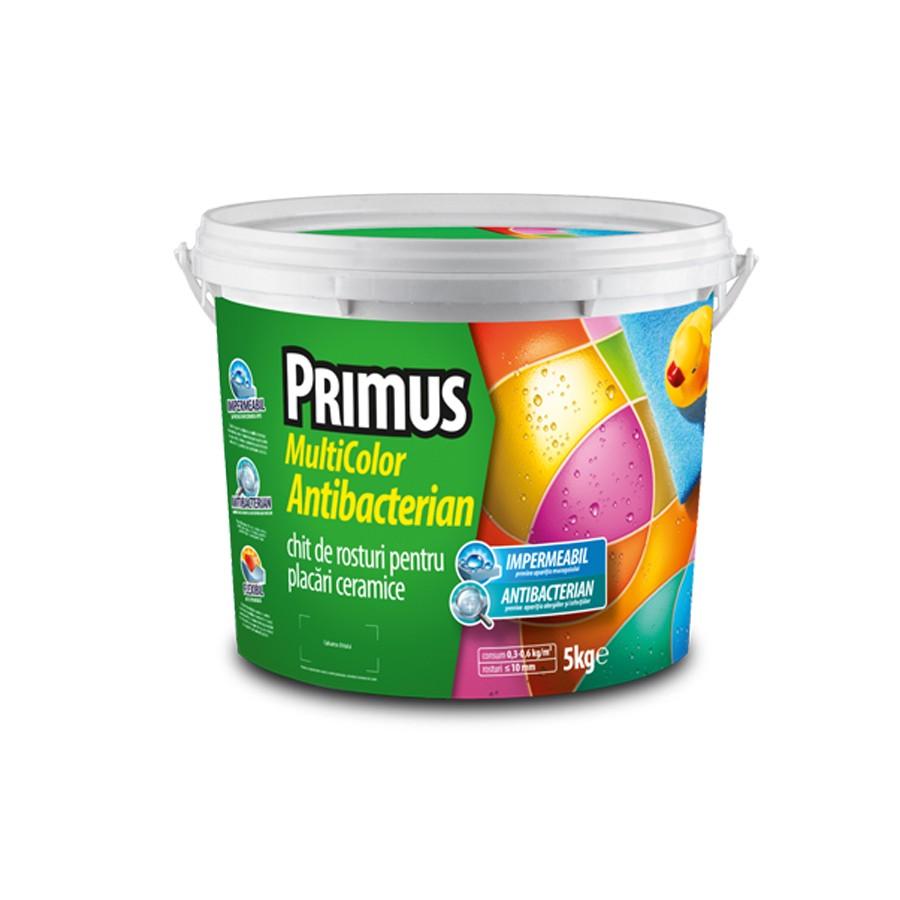 Chit de rosturi gresie si faianta Primus Multicolor Antibacterian B47 floral white, interior / exterior, 5 kg