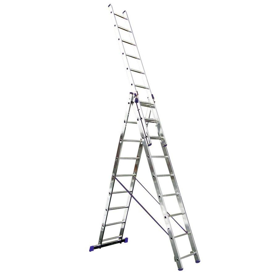Scara aluminiu 6625 3x9 trepte