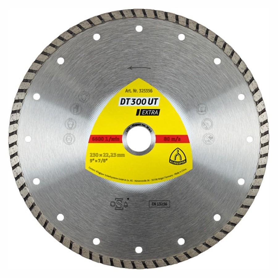 Disc diamantat, continuu, pentru debitare materiale de constructii, Klingspor DT 300 UT Extra, 230 x 22.23 x 2.5 mm