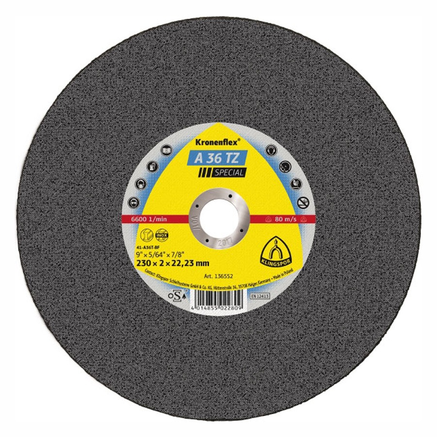 Disc debitare inox, Klingspor A 36 TZ Special, 230 x 22.23 x 2 mm