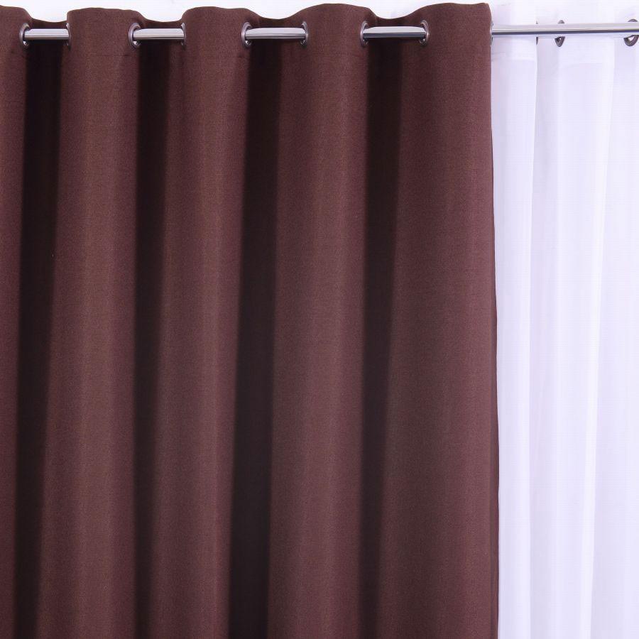 Draperie blackout linen LBF, poliester, maro, H 280 cm