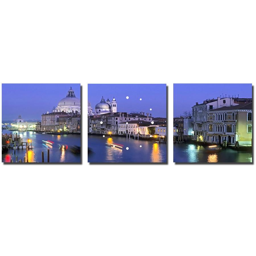 Tablou canvas cu ceas, 3 piese, TA13-PAC655, stil orase si arhitectura, 30 x 30 cm
