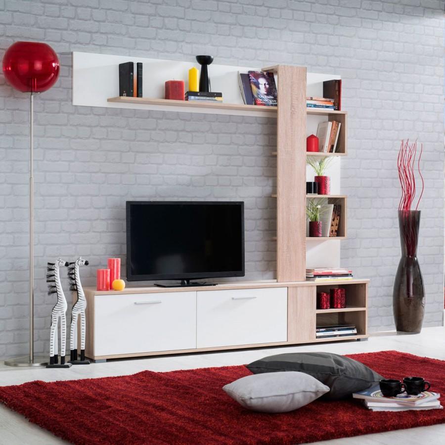 Biblioteca living Apus, sonoma + alb, 180 cm, 2C