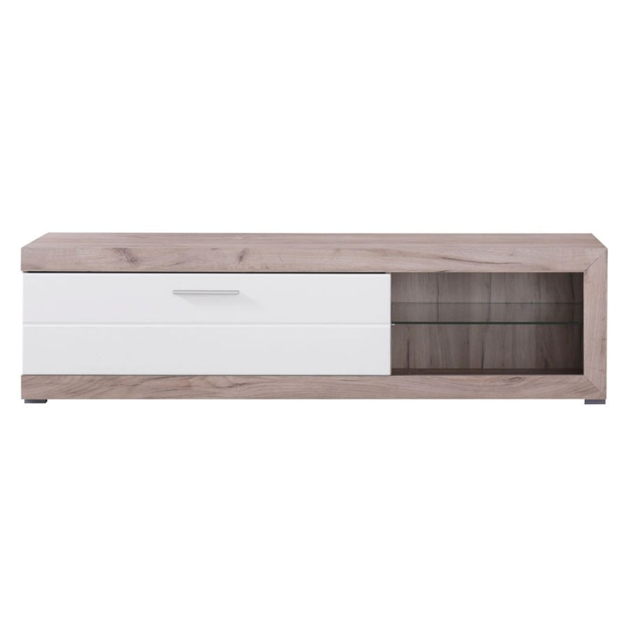 Comoda TV Remo, stejar gri + alb lucios, 162 x 41.5 x 43.5 cm, 1C