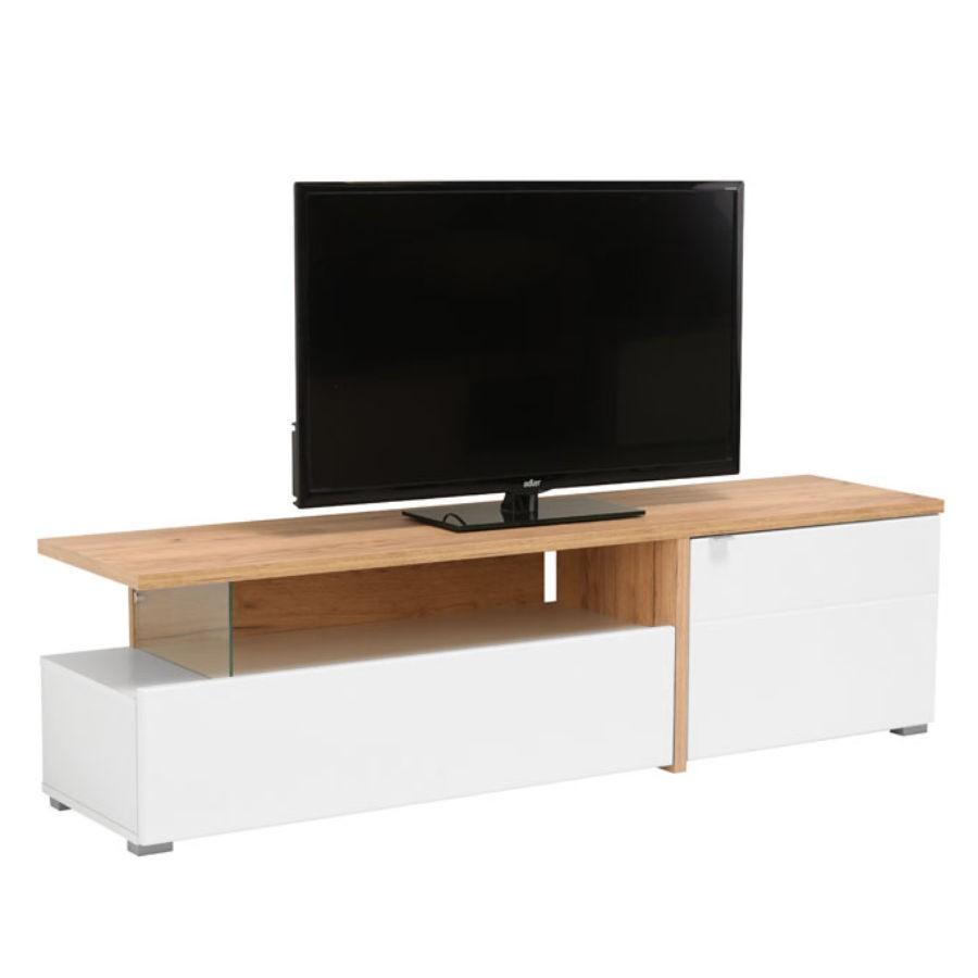 Comoda TV Fortuna, alb + stejar auriu + alb lucios, 160.5 x 40 x 44.5 cm, 1C