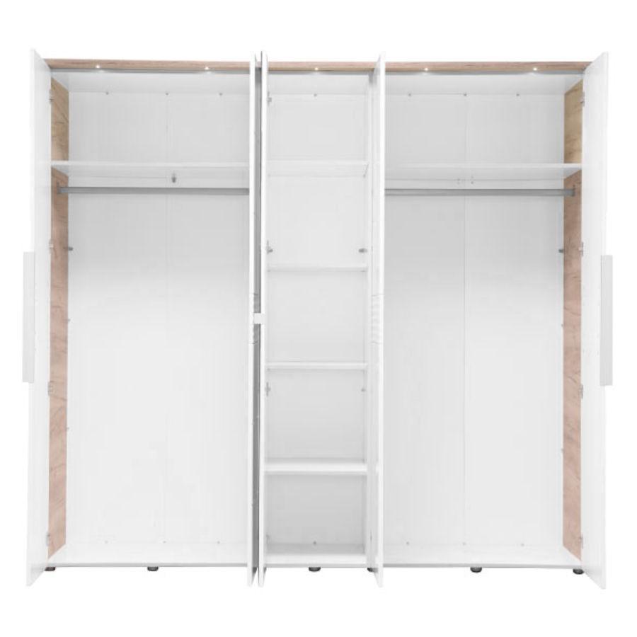Dulap dormitor David 5K1O, stejar gri + alb lucios, 5 usi, cu rama, lumini si oglinda, 229 x 61.5 x 211 cm, 7C