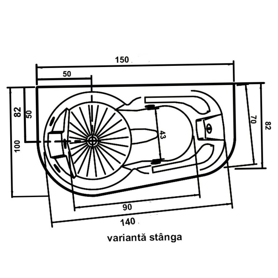 Cada baie cu hidromasaj, asimetrica, pe colt, montaj stanga, West Doride, masca inclusa,150 x 100 cm