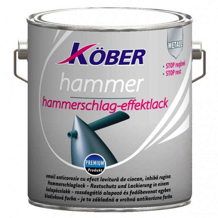 Vopsea alchidica pentru metal Kober Hammer, efect fier forjat, interior / exterior, negru E81900, 10 L