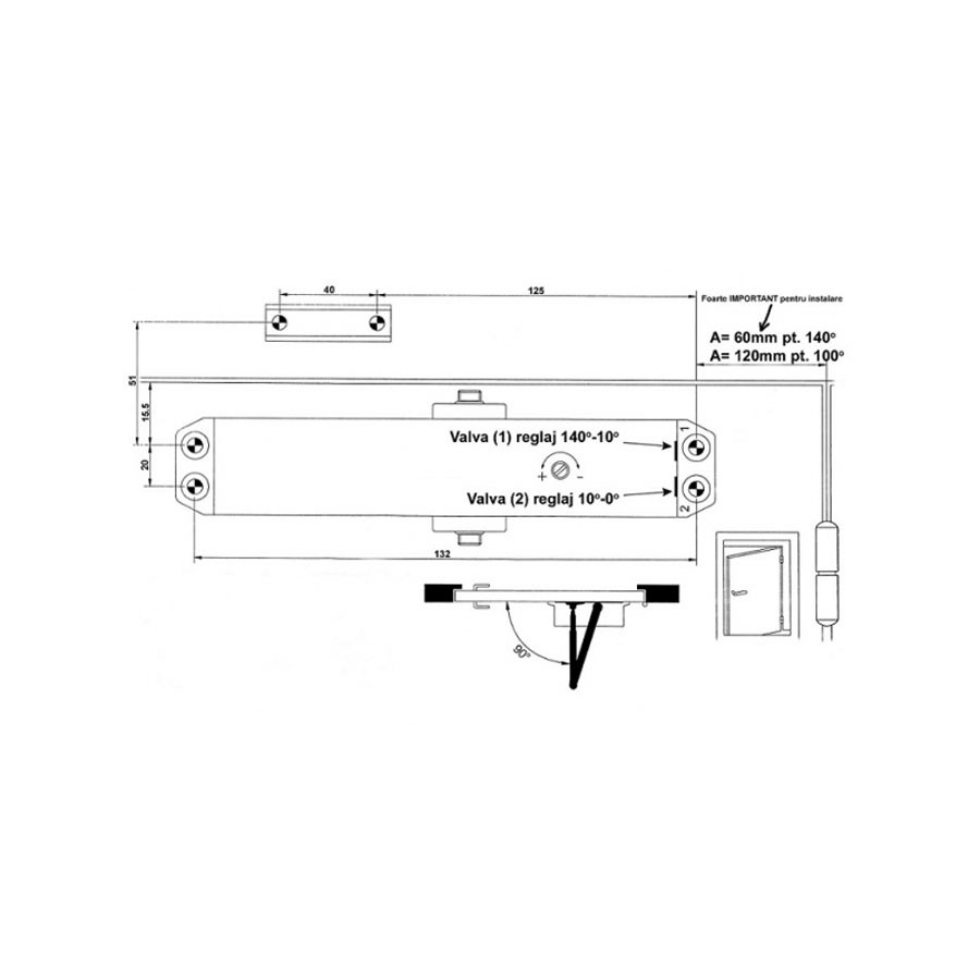 Amortizor usa, hidraulic, Omega TS 601, alb, 15-30 kg
