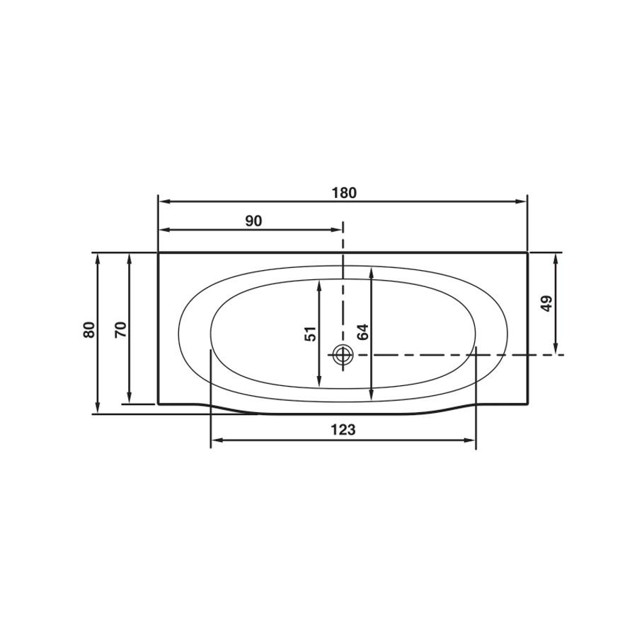 Cada baie rectangulara West Cassiopea, masca frontala si suport incluse, acril, 180 x 80 cm
