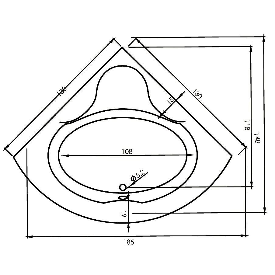 Cada baie cu hidromasaj, simetrica, West Vanda, cu masca inclusa, 130 x 130 cm