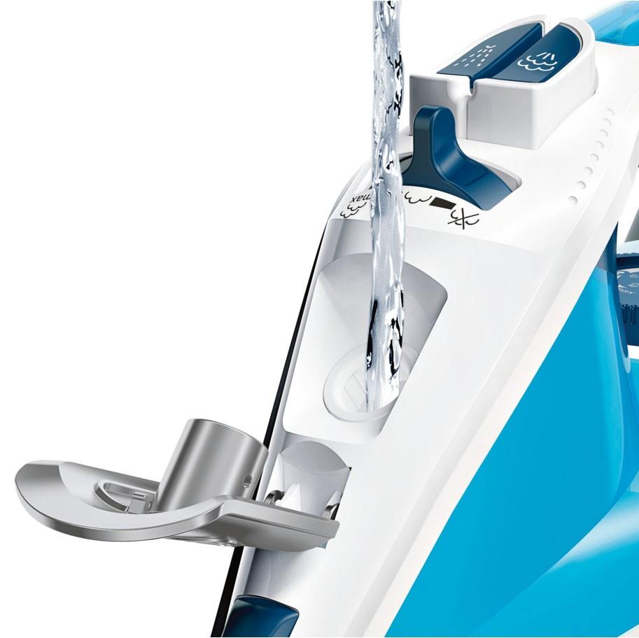 Fier de calcat Bosch TDA3028210, 2800 W, talpa Ceranium Glissee, 0.32 l, 180 g/min, sistem 3 AntiCalc, albastru cu alb