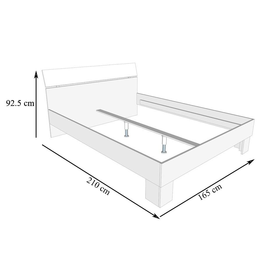Pat dormitor Bon 160, matrimonial, stejar gri + alb, 160 x 200 cm, 3C
