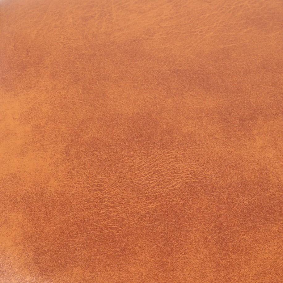 Scaun bucatarie / living fix Tulipan, tapitat, metal cromat + imitatie piele cognac