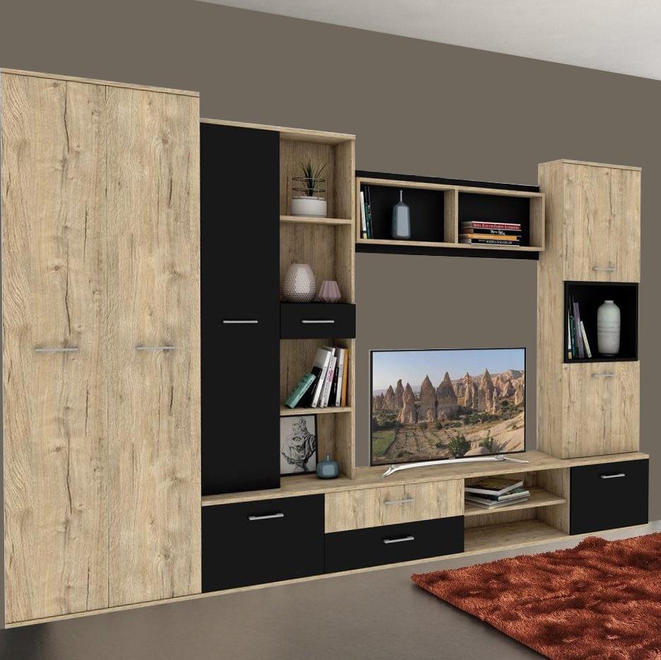 Biblioteca living Ada, sherwood + negru, 294 cm, 5C