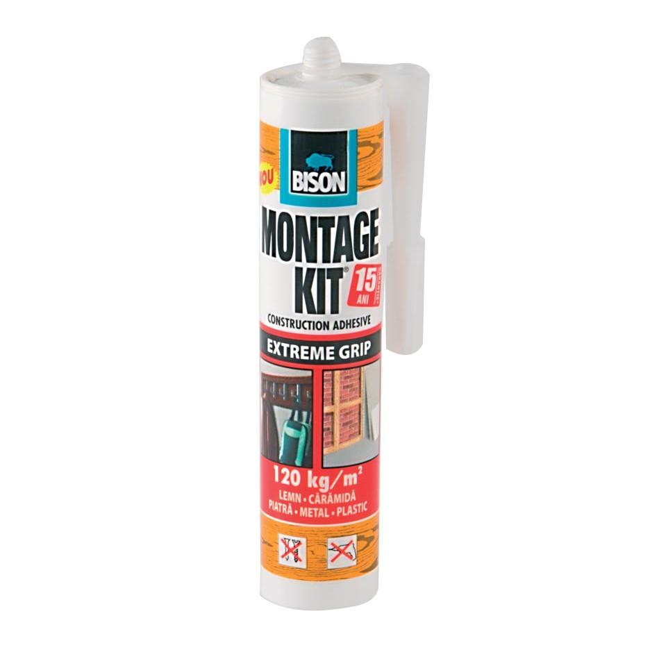 Adeziv pentru suprafete multiple, interior / exterior, Bison Montage Kit Extreme Grip, alb, 370 gr