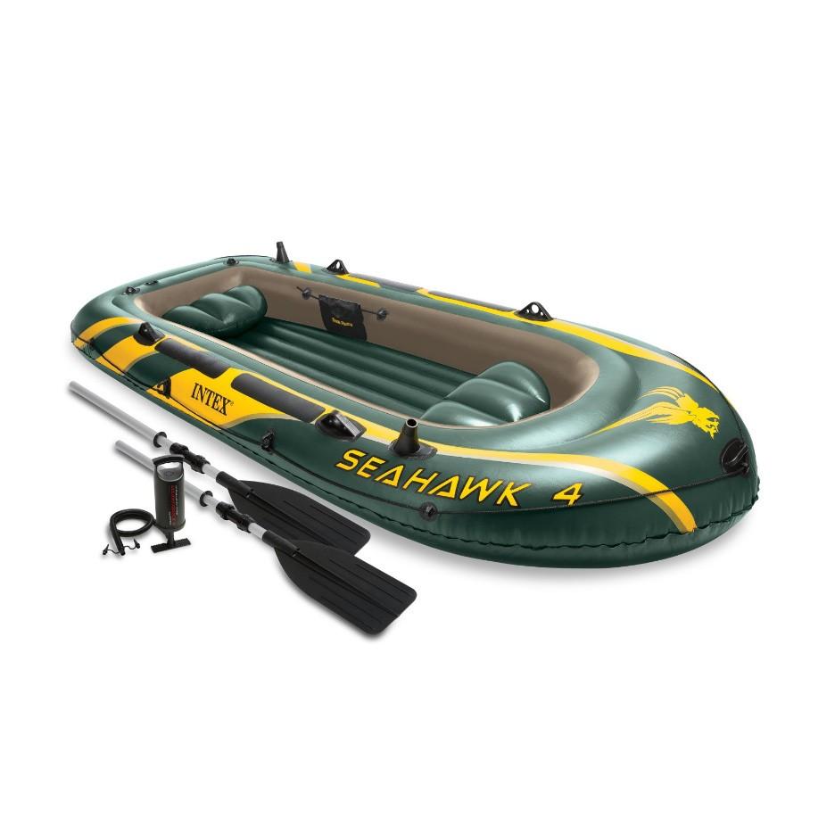Set barca gonflabila / pneumatica Intex 68351NP Seahawk 4, pentru 4 persoane + vasle