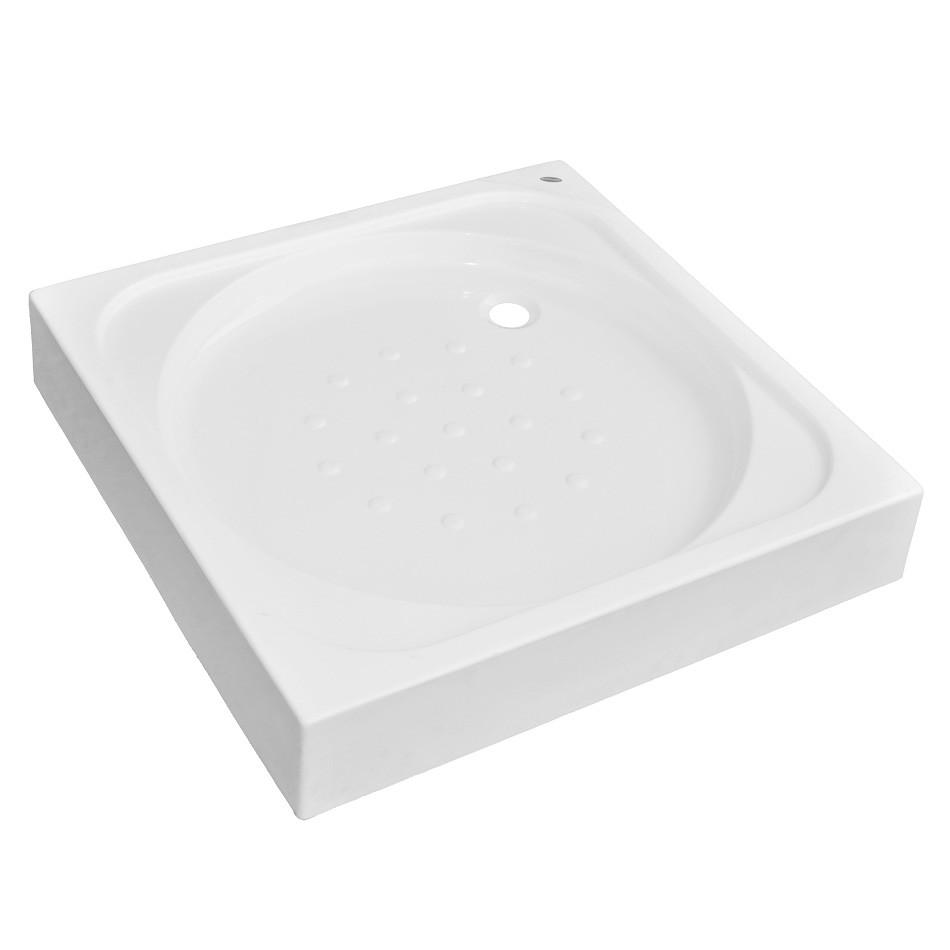 Cadita de dus patrata Martplast, acril + poliuretan, alb, 90 x 90 x 17 cm