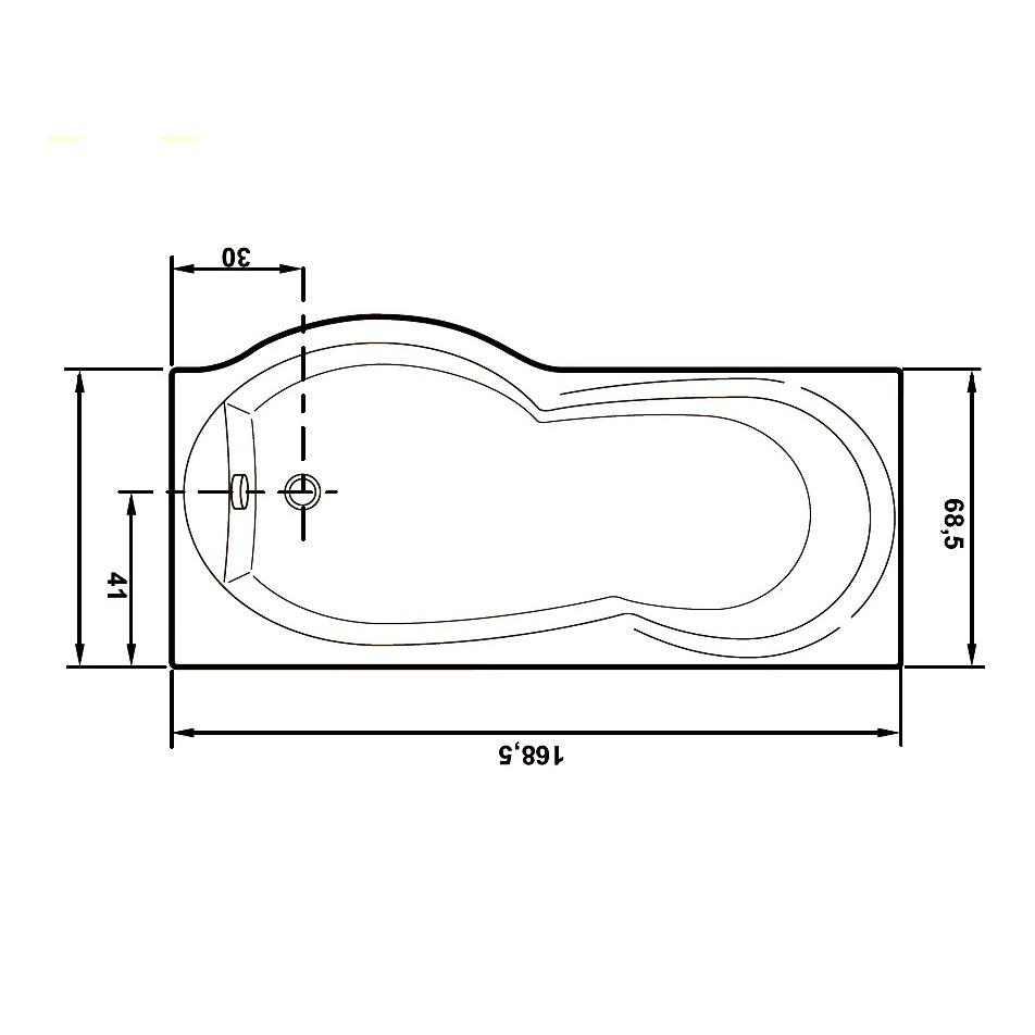 Cada baie cu hidromasaj + aeromasaj, rectangulara, Rugiada, masca inclusa, acril, montaj pe dreapta, 170 x 70 cm