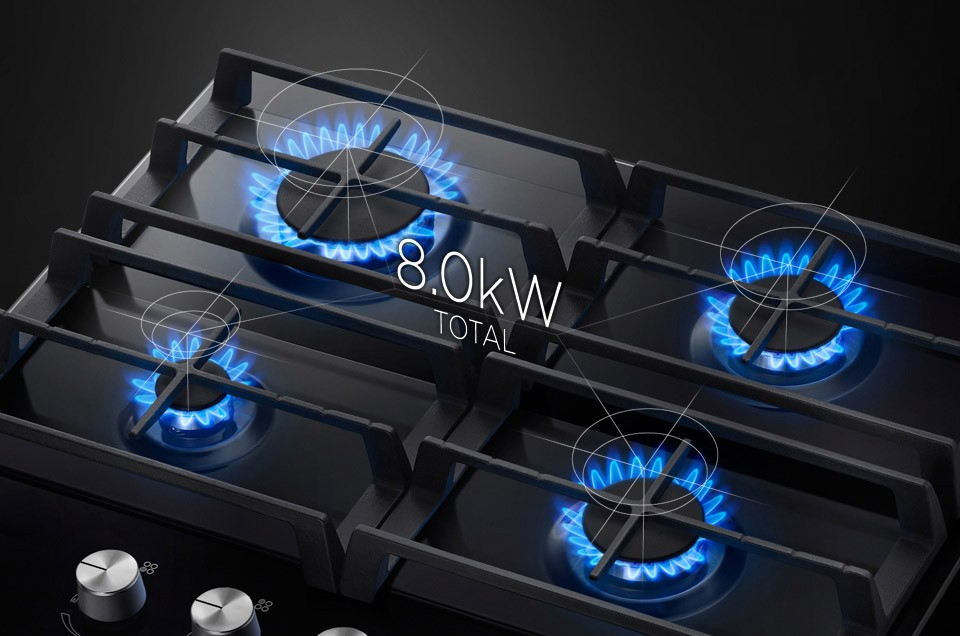 Plita pe gaz incorporabila Samsung NA64H3000AK, 4 arzatoare, putere 8 kW, negru