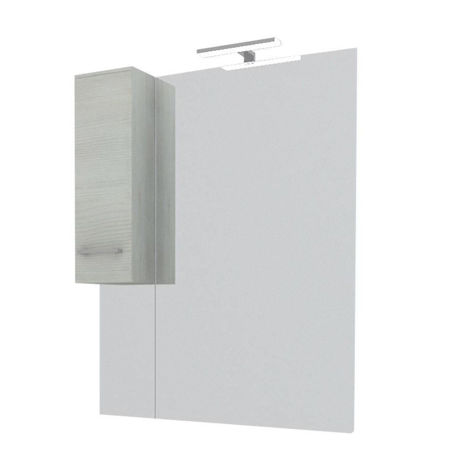 Dulap baie cu oglinda, iluminare, 1 usa, stanga, Savini Due Rubino 4424S, rovere grigio, 81 x 17 x 107.5 cm