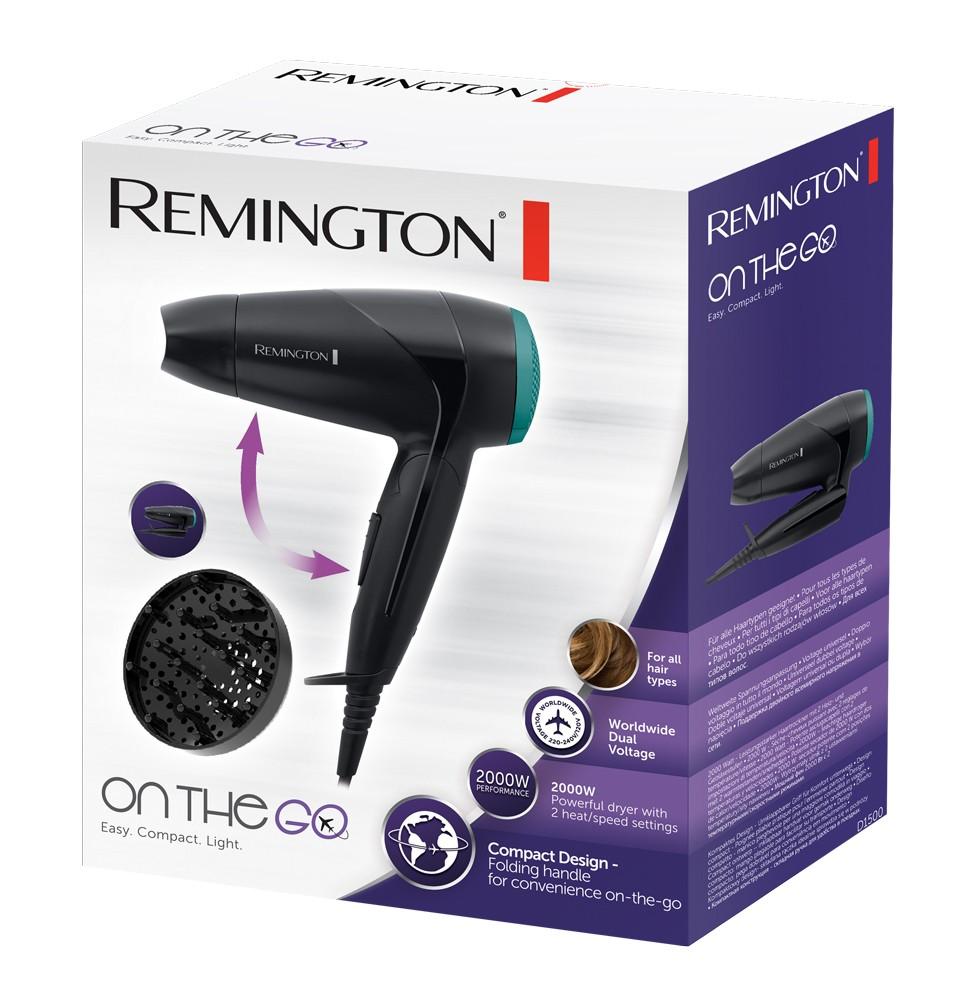 Uscator de par Remington D1500, 2000 W, 2 viteze, 2 setari de temperatura, maner pliabil, negru + verde