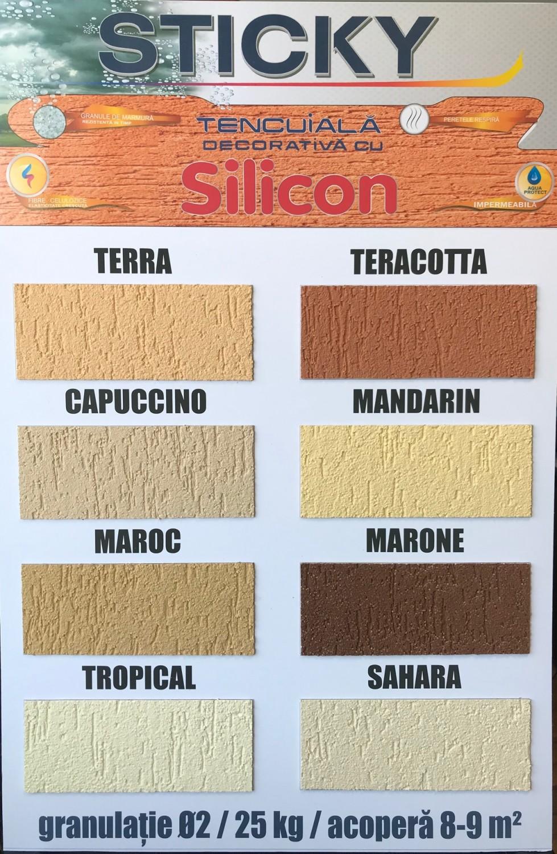 Tencuiala decorativa siliconica Sticky, 2 mm, structurata, aspect texturat, alba, interior / exterior, 25 kg