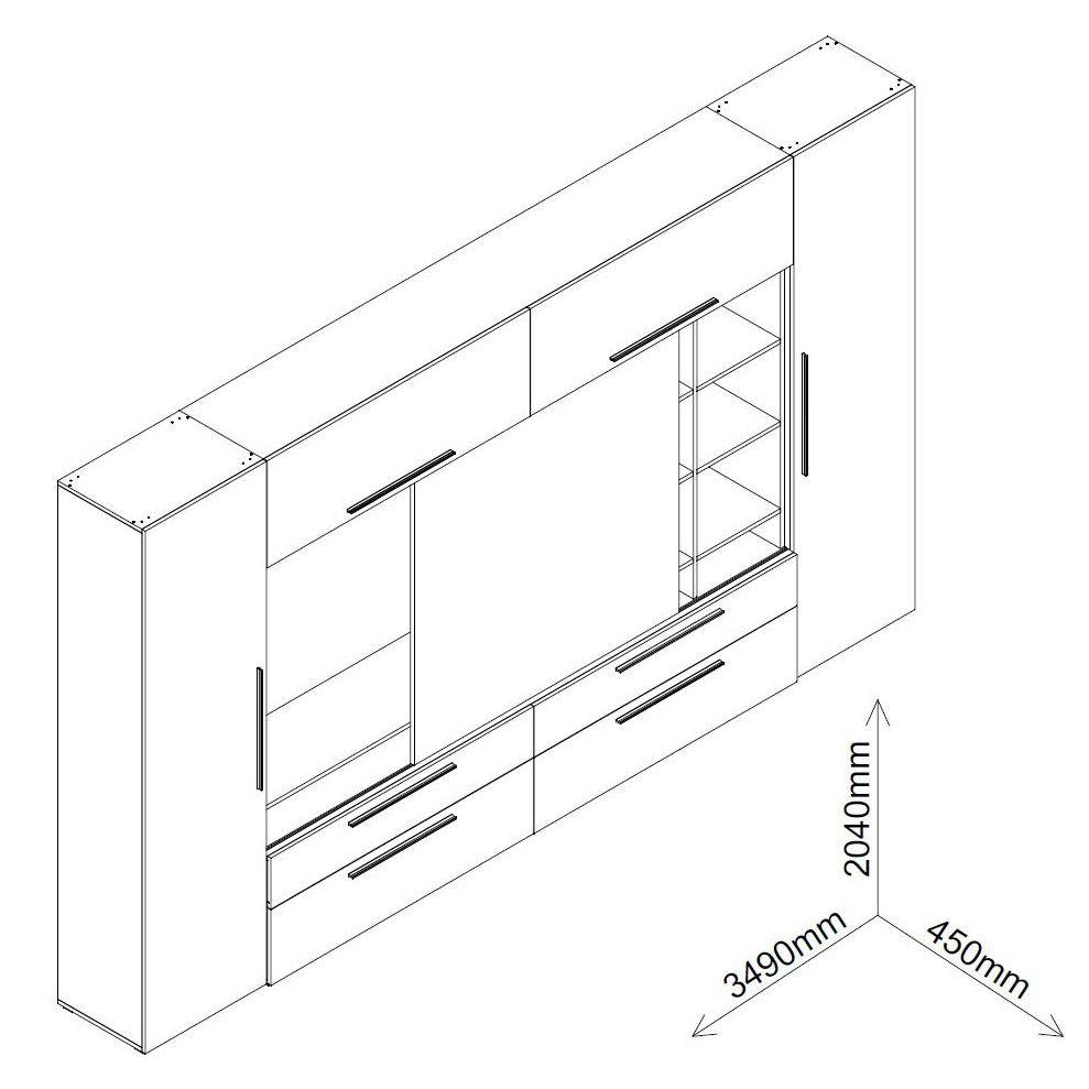 Biblioteca living Agora, stejar bardolino + alb + maro + print P52, 349 cm, 7C
