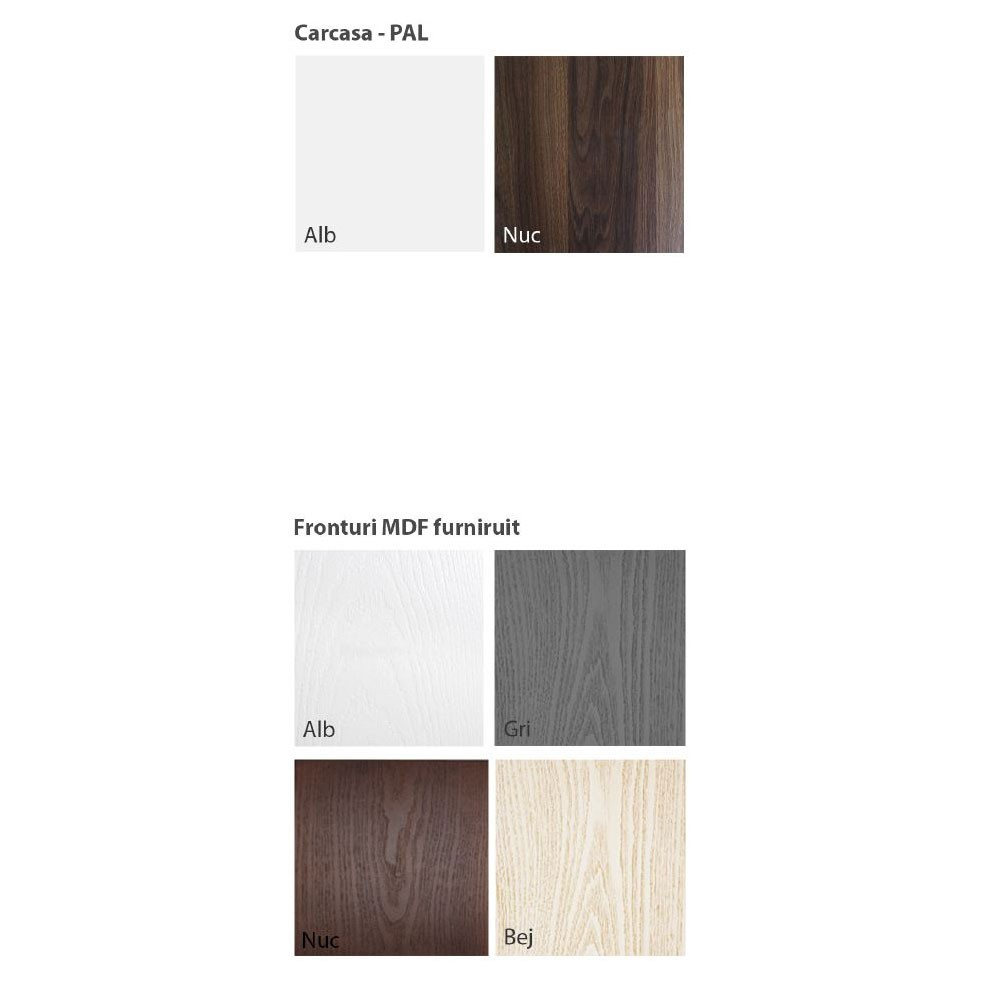Comoda camera tineret Natalia T11, cu 4 sertare, furnir diverse culori, 80 x 85 x 45 cm, 1C